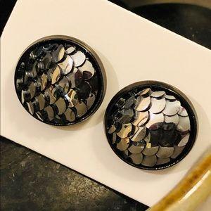 Metallic Gray Dragon Scales Stud Pierced Earrings